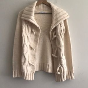 Gap Sweater Chunky Hand Knit Cream Color Size XS